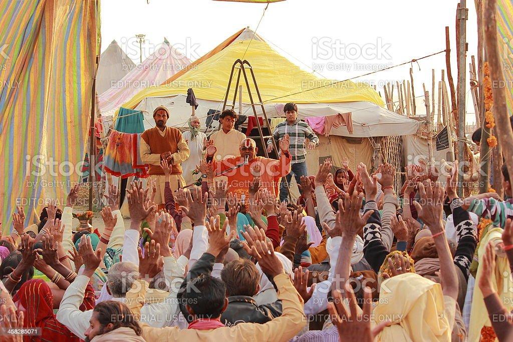 Holy preaching by a Hindu saint in Kumbh 2013 stock photo