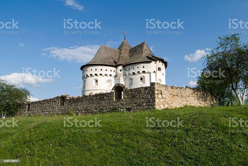 Holy Protection Fortress-Church 15th century, Village of Sutkivci, Ukraine stock photo
