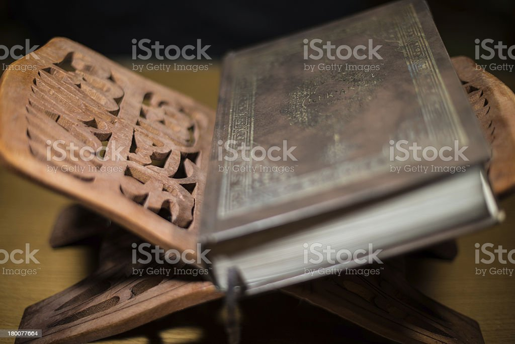 Holy Quran on top of the reading table royalty-free stock photo