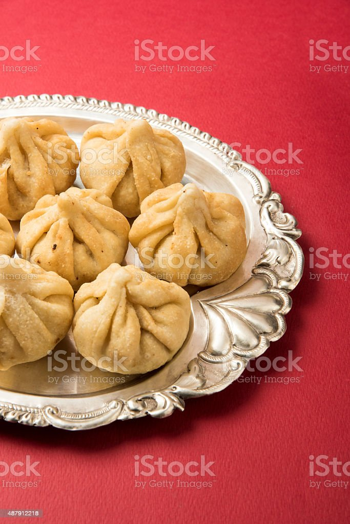 holy recipe called 'Modak', indian sweet stock photo