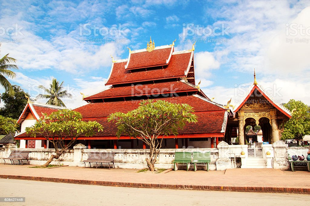 Holy red roof temple in Luang Prabang, Laos stock photo