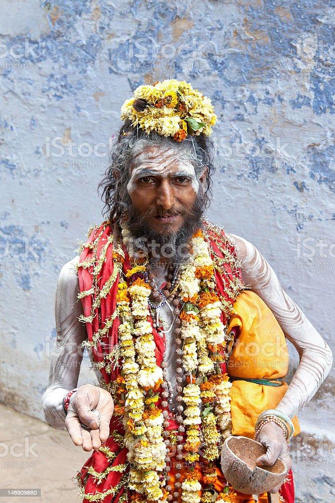 Holy Sadhu in Varanasi, India. stock photo