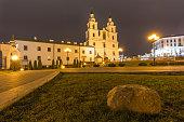 Holy Spirit Cathedral at night. Minsk, Belarus