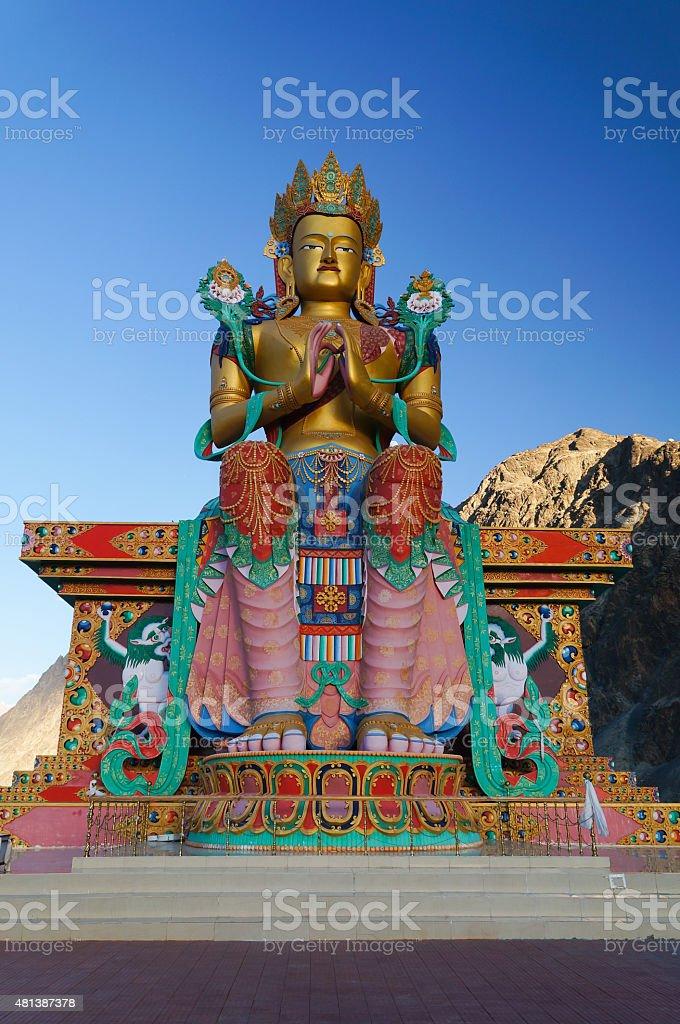 Holy statue of Maitreya Buddha at Nubra valley, ladakh, India stock photo
