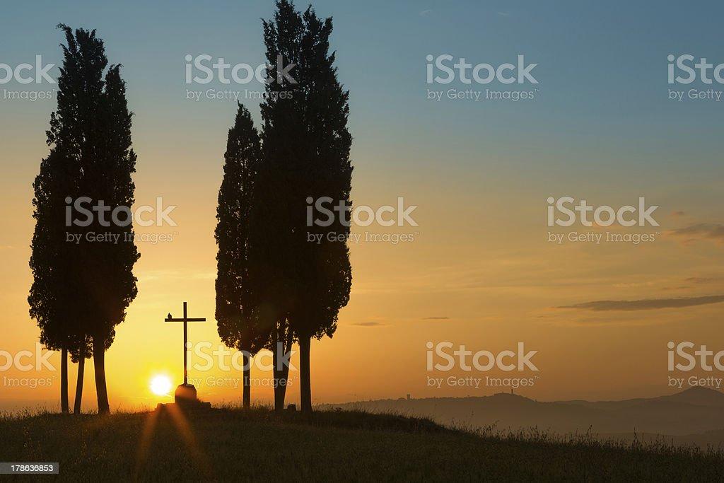 Holy sunrise in Tuscany royalty-free stock photo