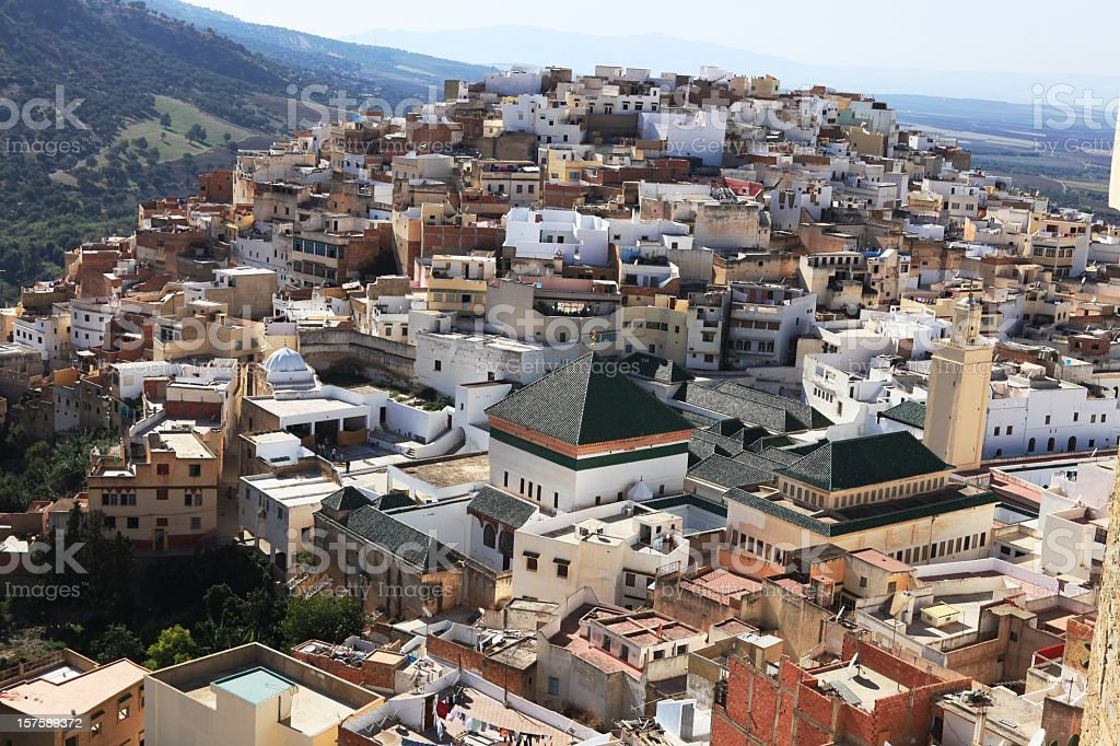 Holy town of Moulay Idriss in Morocco stock photo
