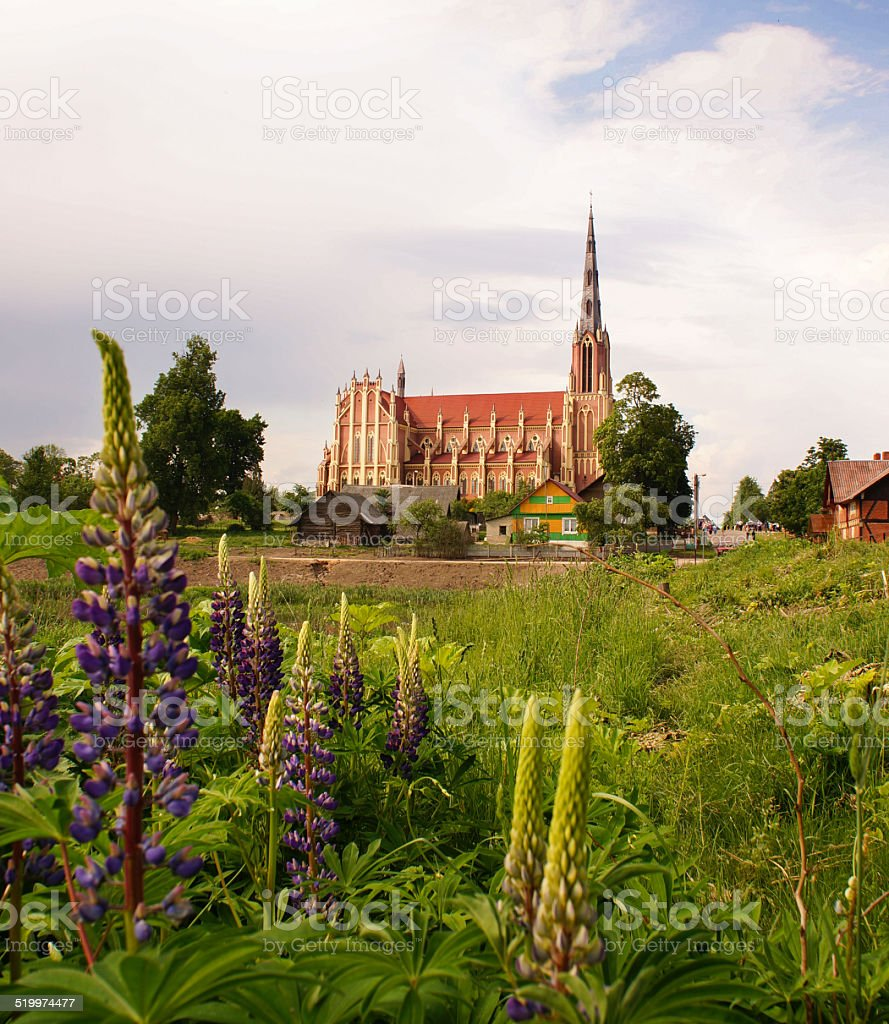 Holy Trinity catholic church, Gervyaty, Belarus stock photo