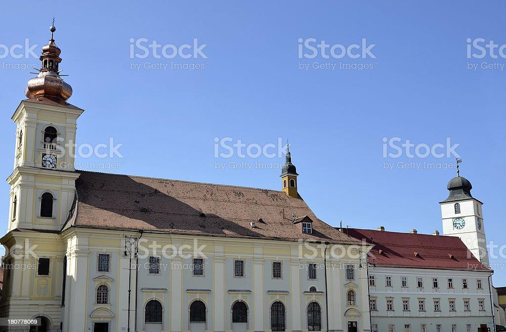 Holy Trinity Catholic church tower from Sibiu royalty-free stock photo