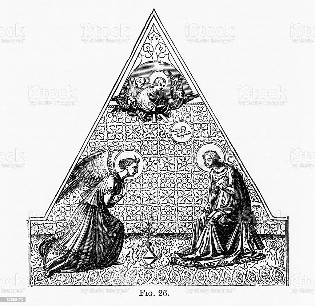 Holy Trinity, Christian Symbolism Engraving stock photo
