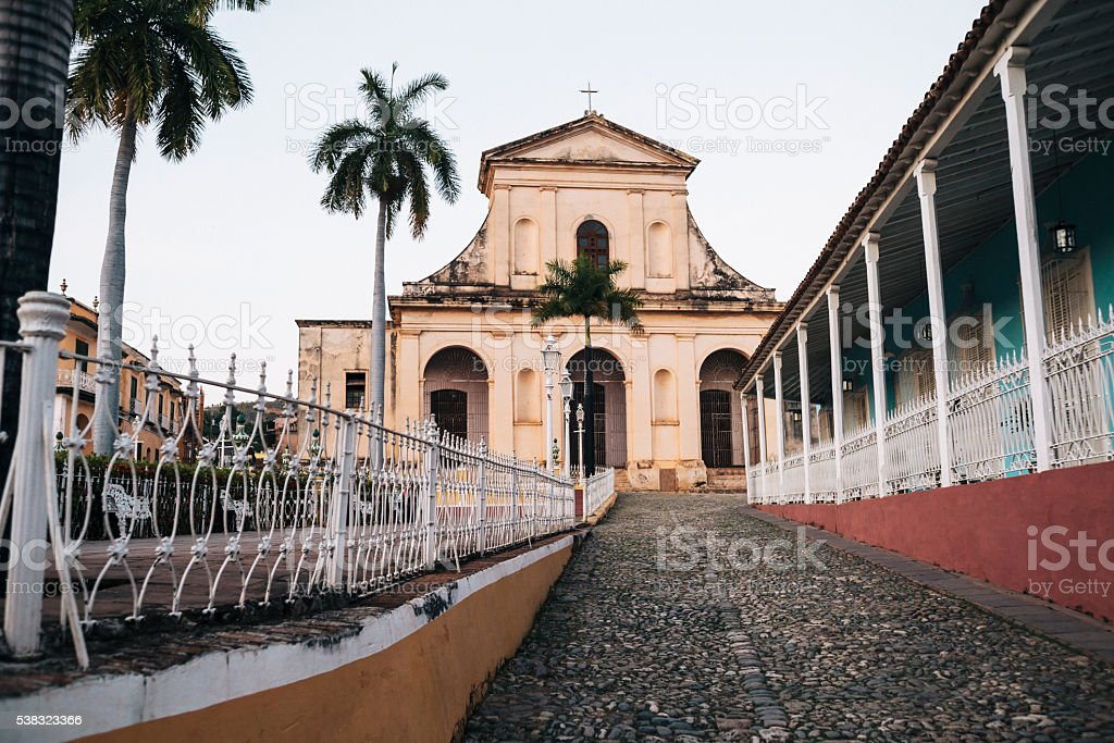 Holy Trinity Church at dusk, Trinidad, Cuba stock photo