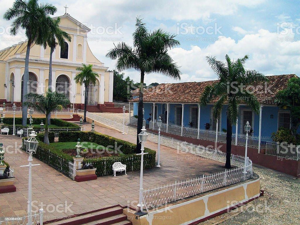 Holy Trinity Church At Plaza Mayor In Trinidad Cuba stock photo