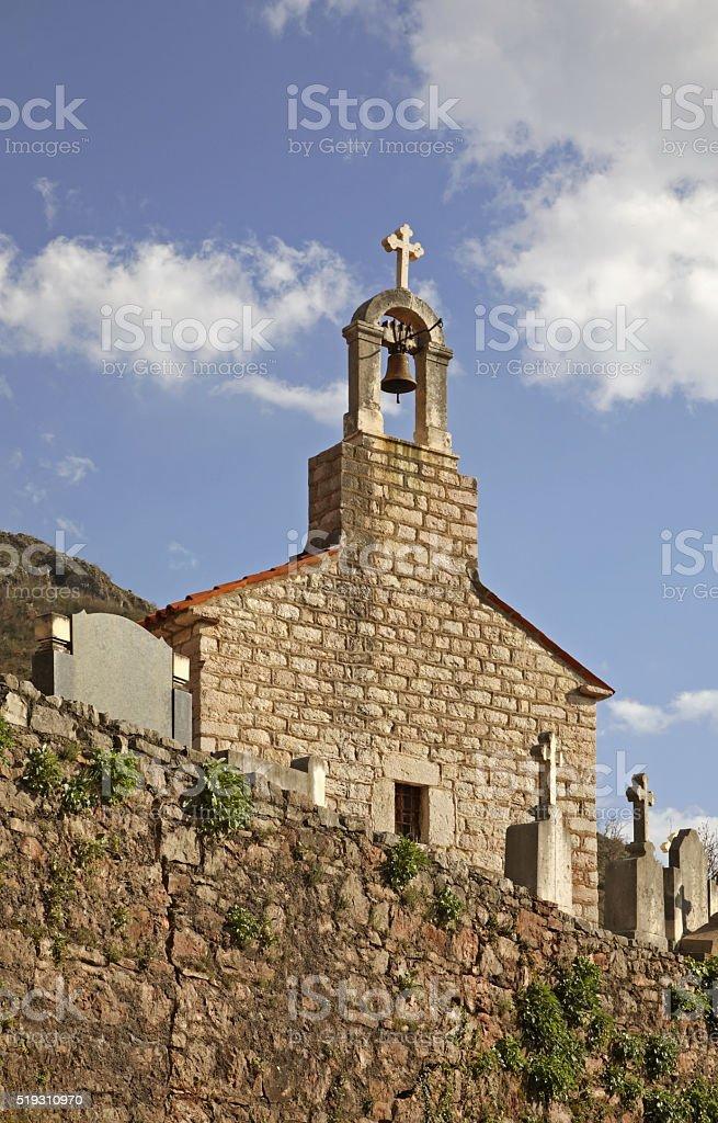 Holy Trinity church in Praskvica Monastery. Montenegro stock photo