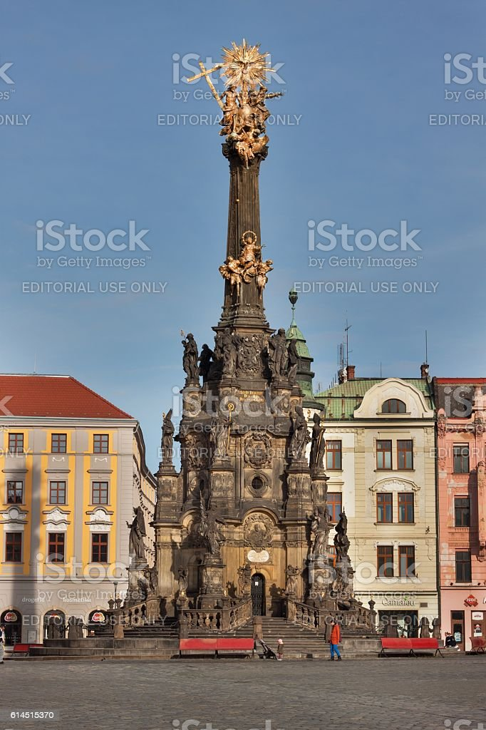 Holy Trinity Column in the old town of Olomouc. stock photo