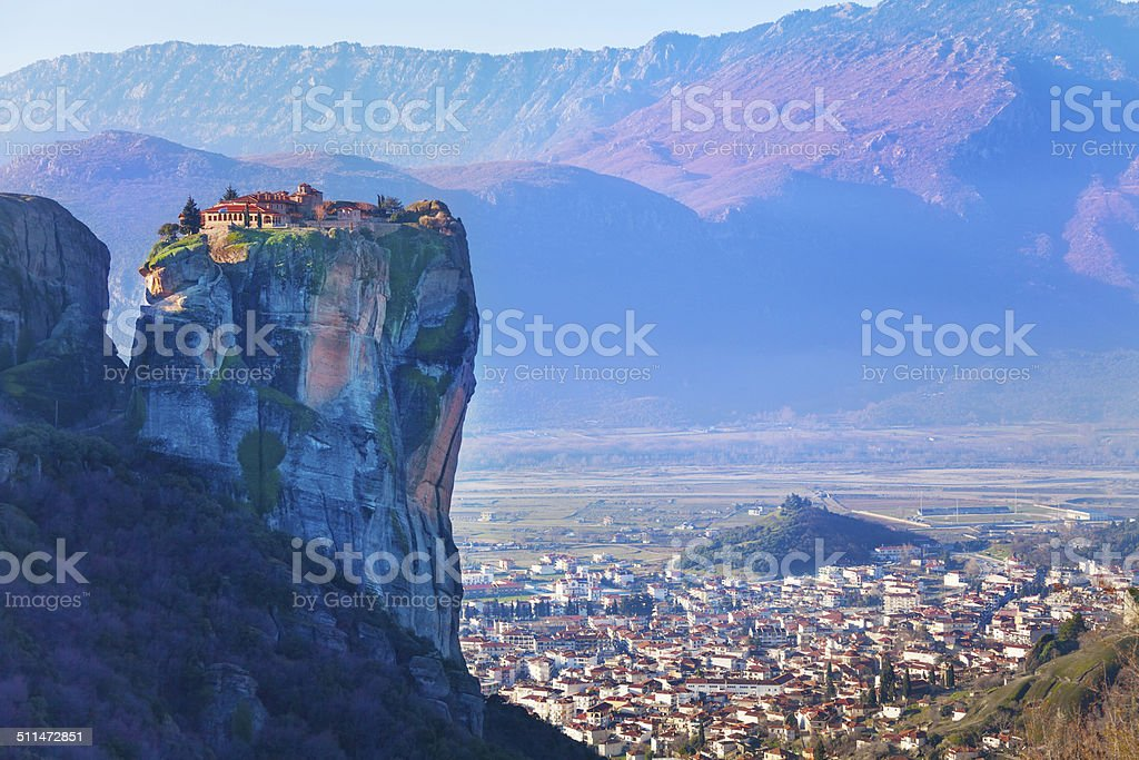 Holy Trinity Monastery on top of the cliff stock photo