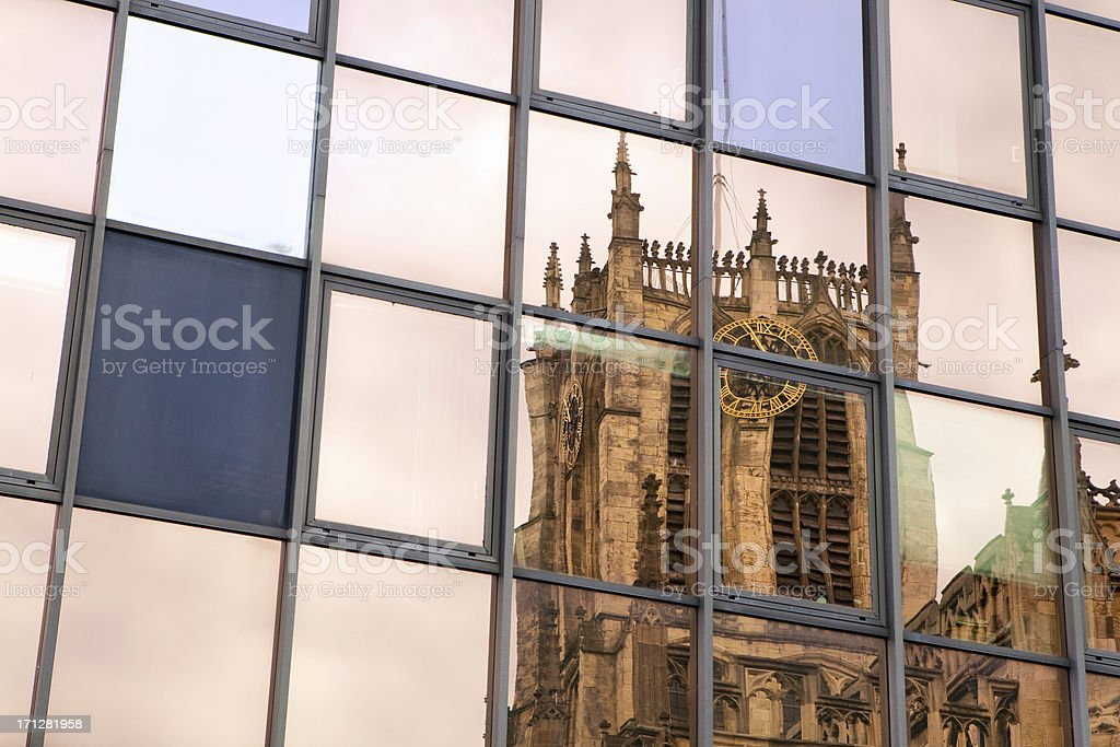 Holy Trinity reflections, Hull stock photo