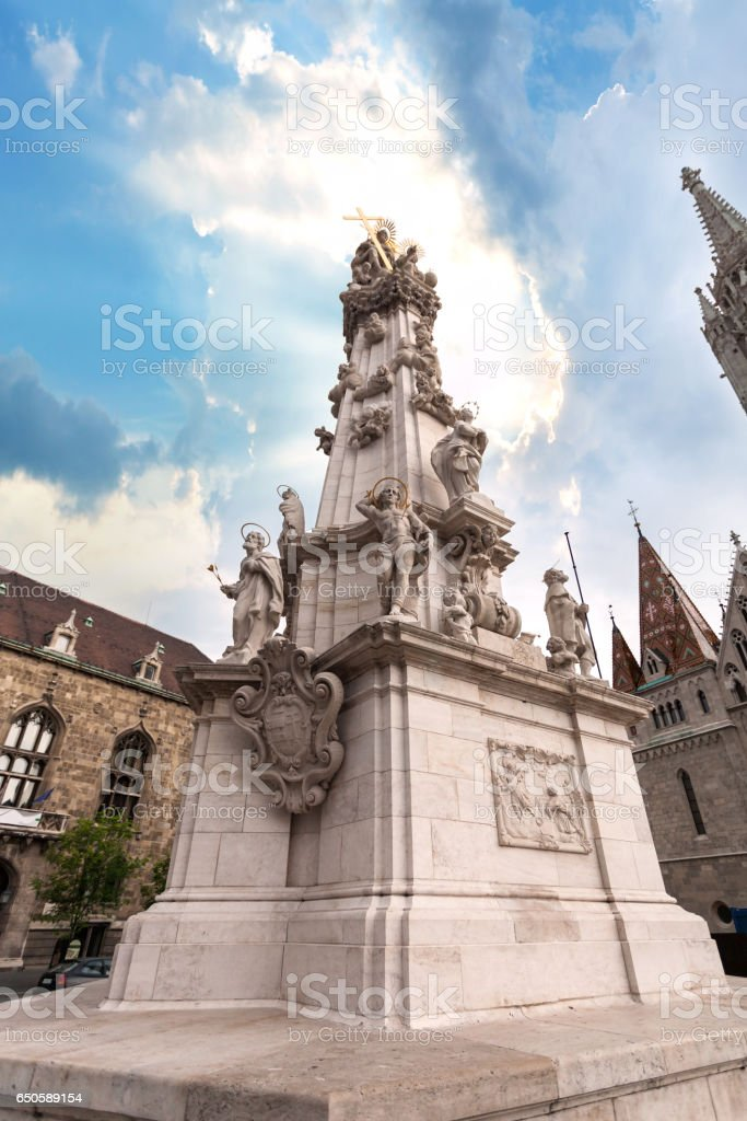 Holy Trinity Statue on the Fishermen's Bastion in Budapest, Hungary stock photo
