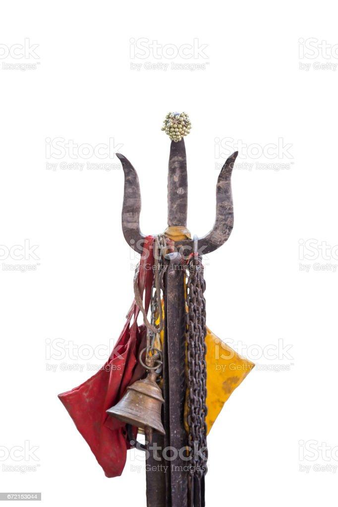 Holy Trishul on white background stock photo