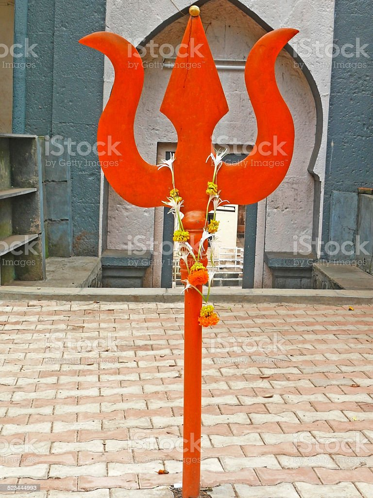 Holy Trishul Outside Lord Shiva, Temple stock photo
