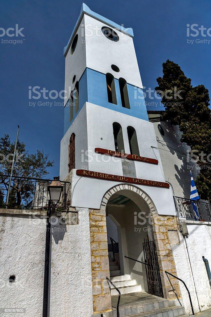 Holy Virgin Church  in village of Panagia, Thassos island, Greece stock photo