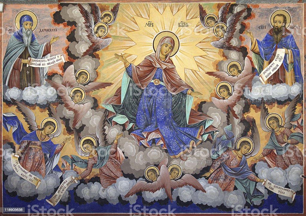 Holy Virgin Rila monastery fresco stock photo
