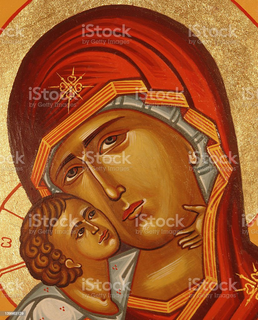 Holy Virgin with Christ child stock photo