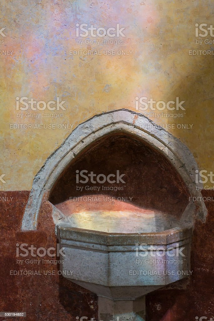 Holy Water in Church stock photo