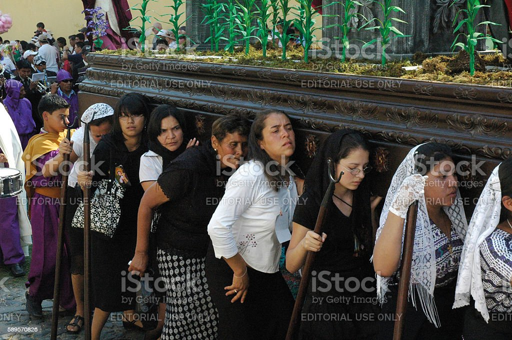 Holy Week at Antigua, Guatemala. stock photo