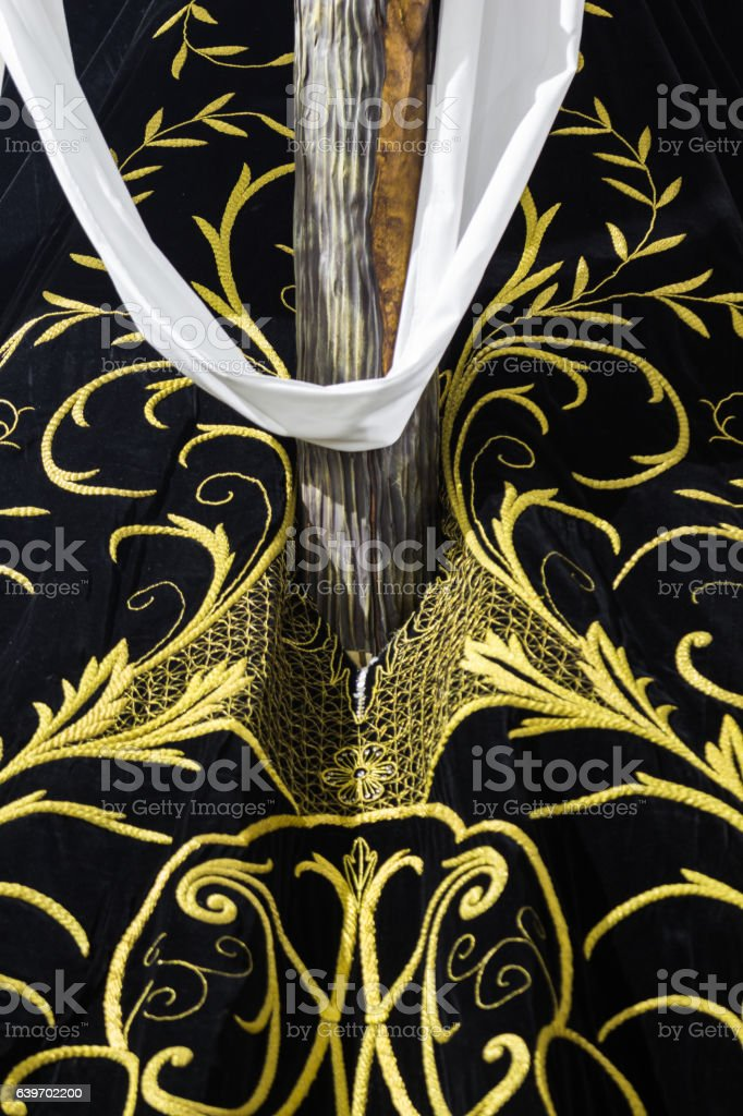 Holy week in Cadiz, Spain. holy cross break through robe stock photo
