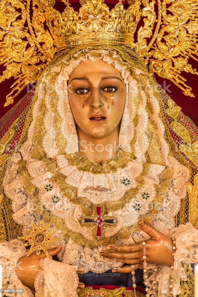 Holy week in Cadiz, Spain. Holy Mary of the Trinity. stock photo