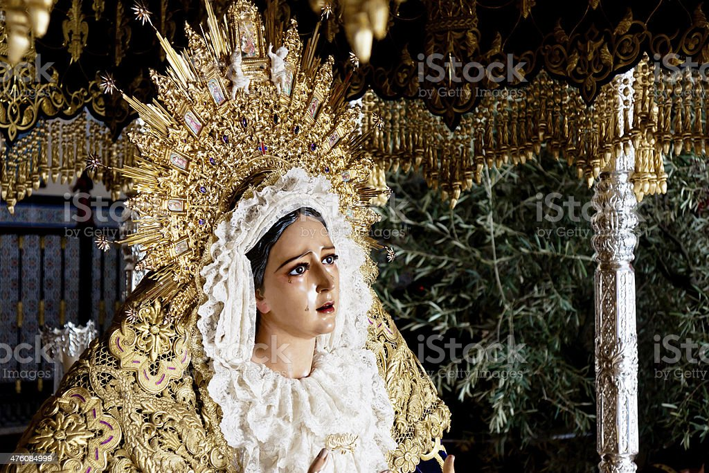 holy week in Malaga, Spain. Grace virgin. royalty-free stock photo