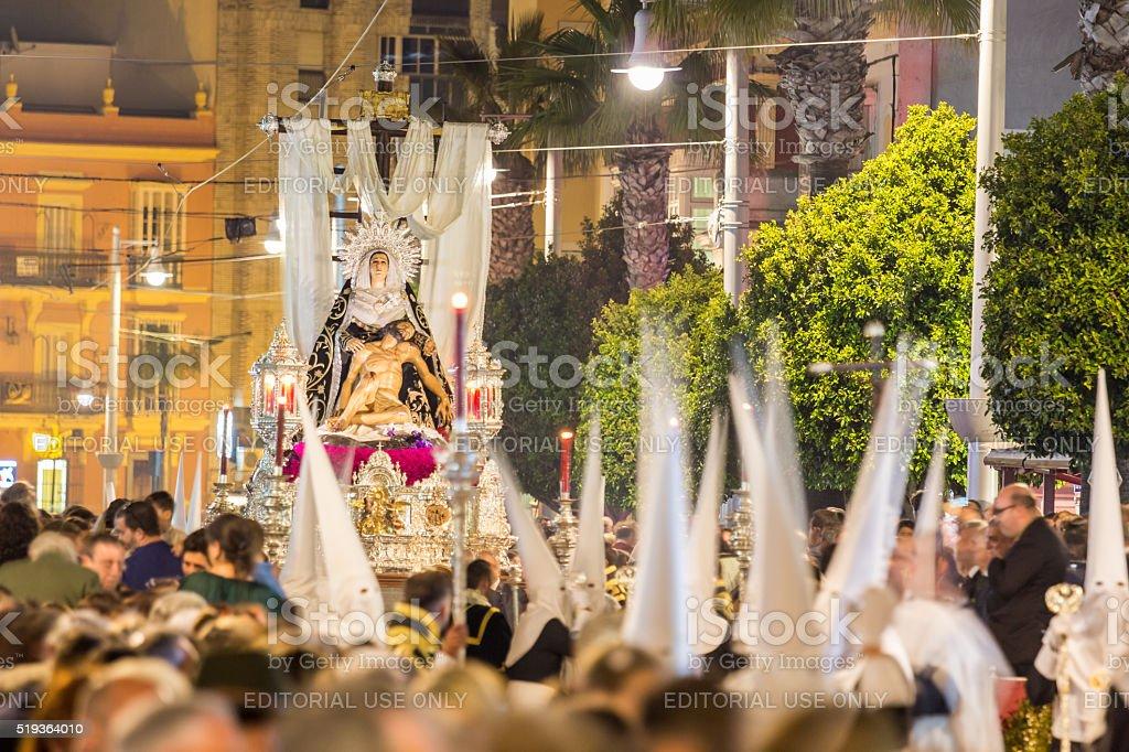 Holy Week in San Fernando, Cadiz, Spain. Brotherhood of charity. stock photo