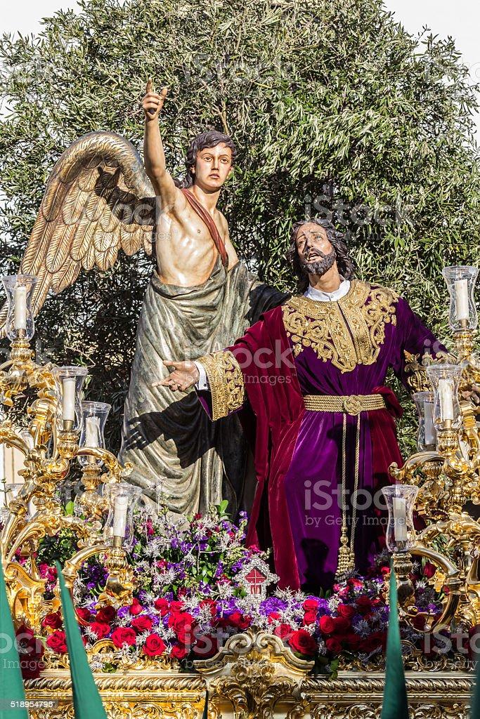 Holy Week in San Fernando, Cadiz, Spain. stock photo
