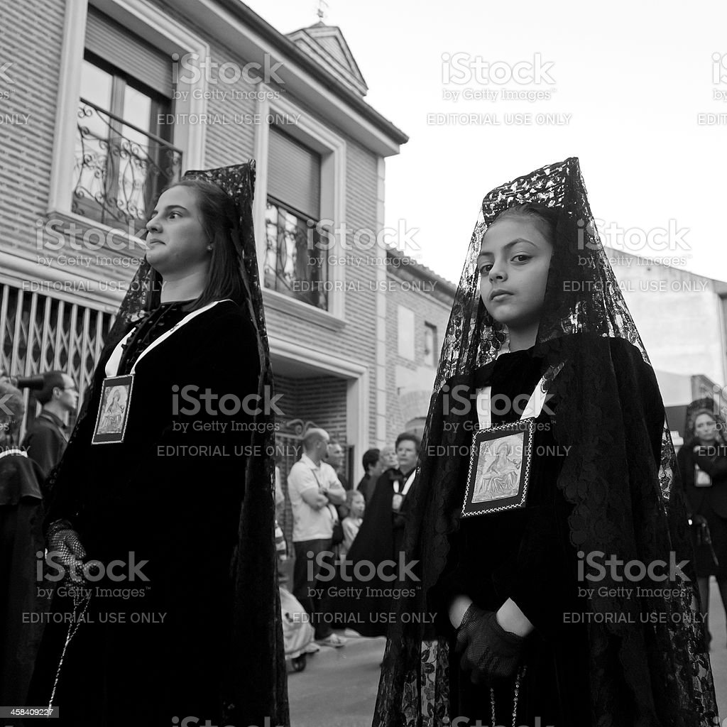 Holy Week procession in Spain stock photo