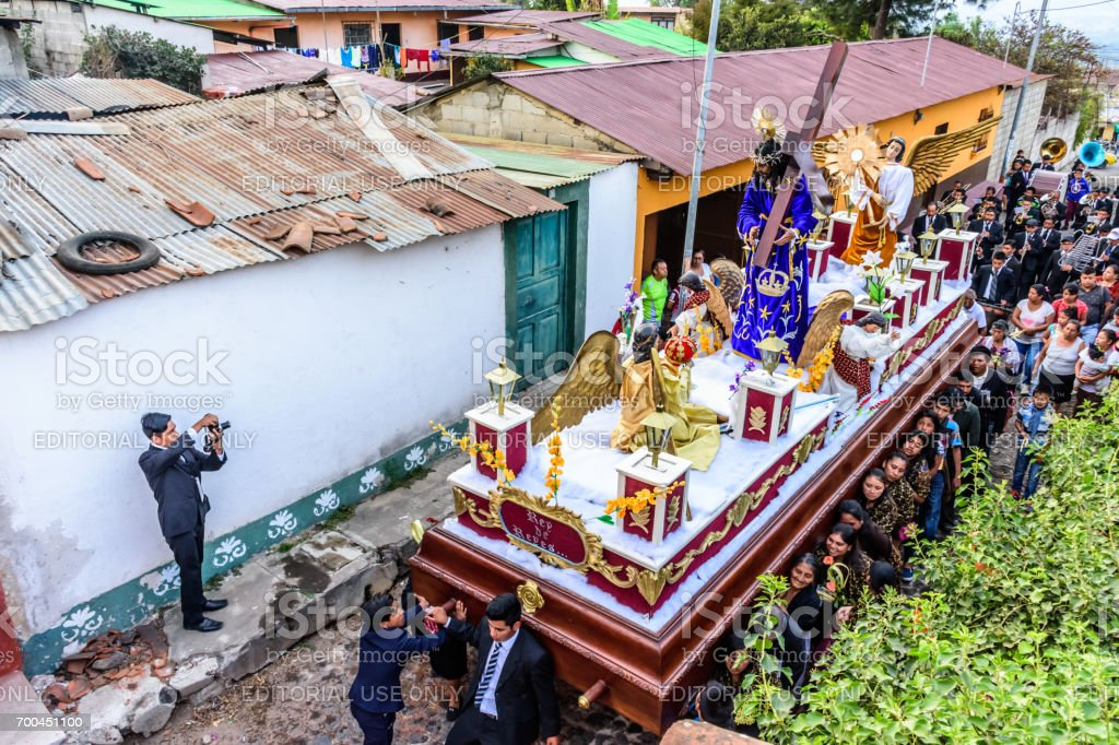 Holy Week procession passes, San Juan del Obispo, Guatemala stock photo