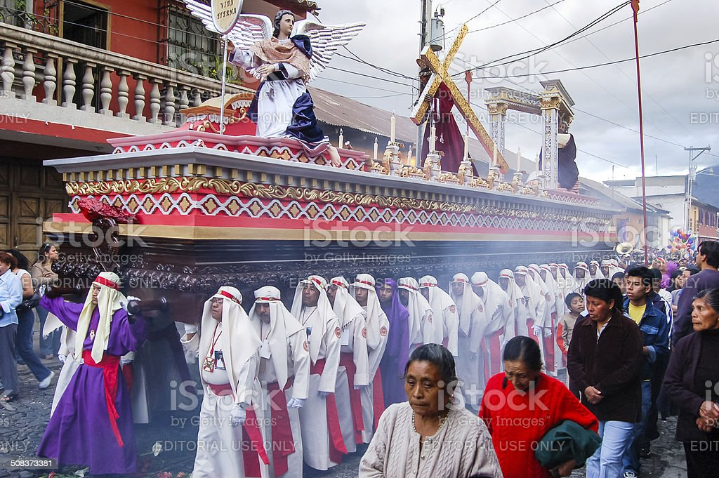 Holy Week religious procession in Antigua, Guatemala royalty-free stock photo