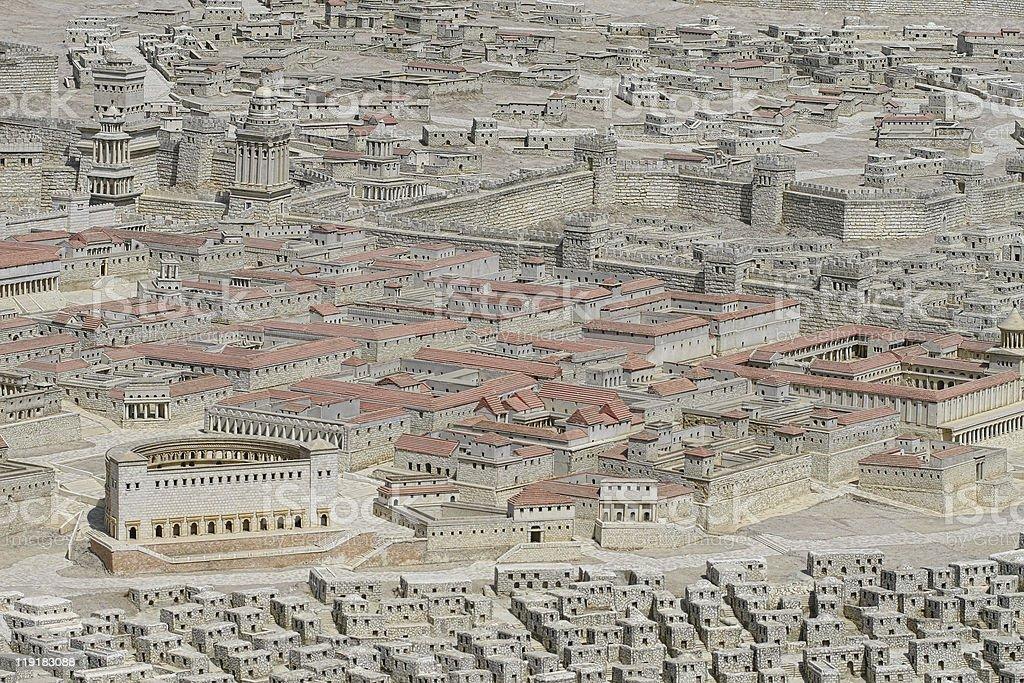 Holyland model of Jerusalem stock photo
