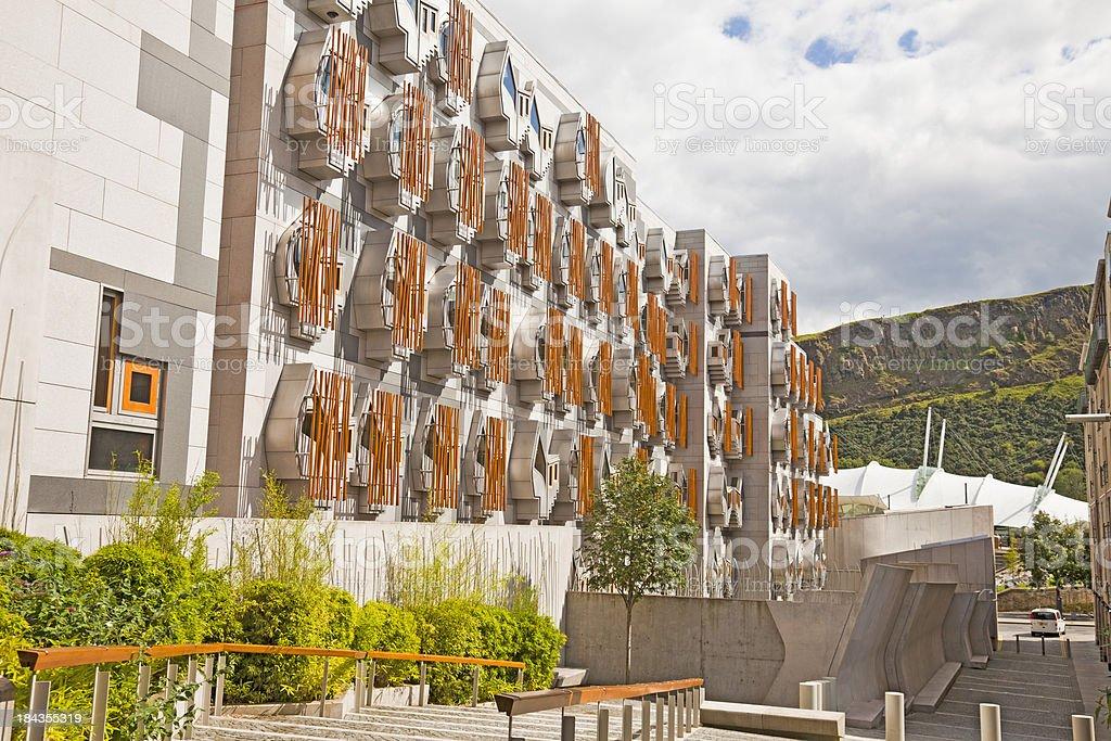 Holyrood, Edinburgh, MSP Building, Dynamic Earth, Salisbury Crags stock photo