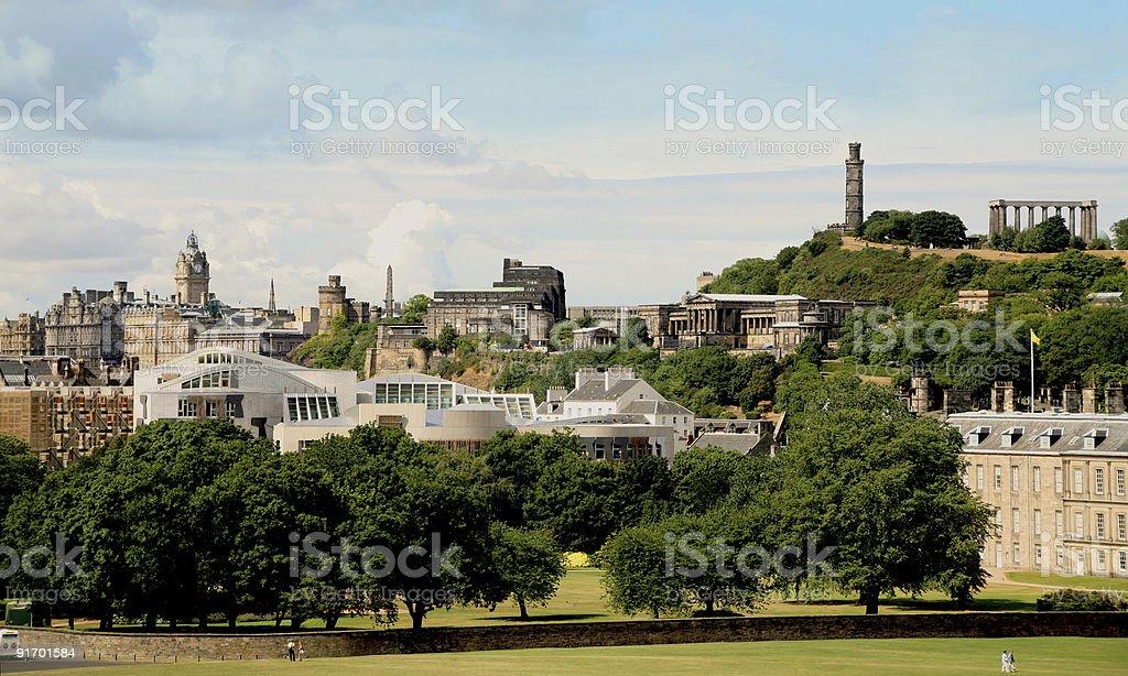 Holyrood Park, Scottish Parliamentary buildings and Calton Hill stock photo