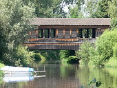 Holzbrücke über der Schussen