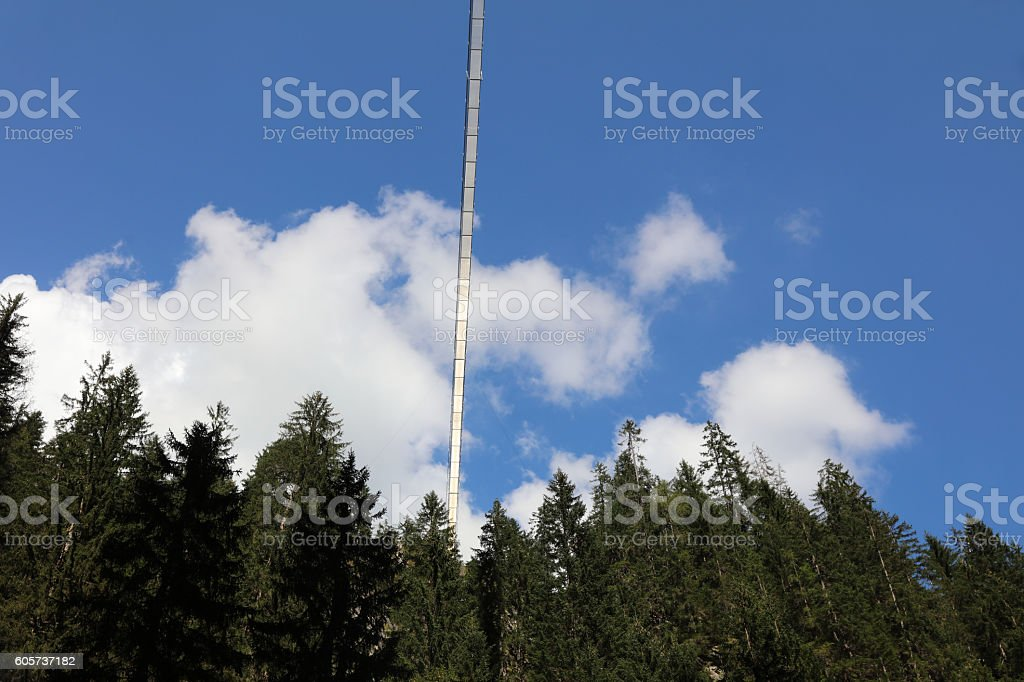 Holzgau Suspension Bridge in Lech Valley. Tirol. Austria stock photo