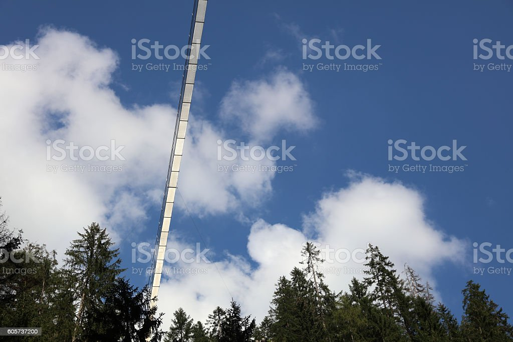 Holzgau Suspension Bridge in Lech Valley. Tirol. Austria stock photo