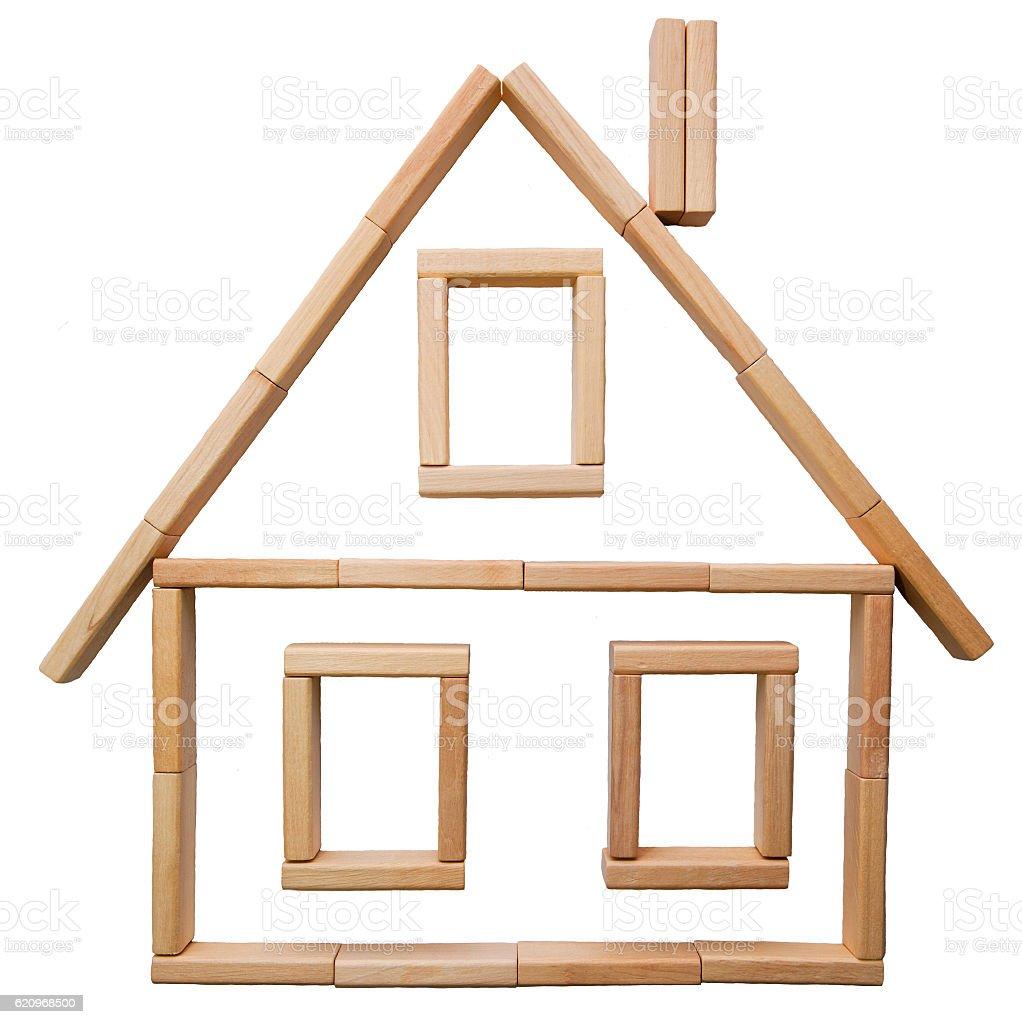 Holzhaus aus Bausteinen stock photo