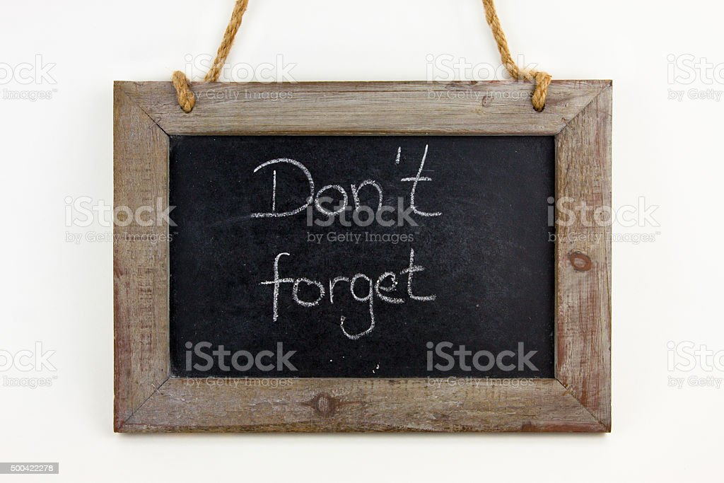 Holztafel Do not forget stock photo