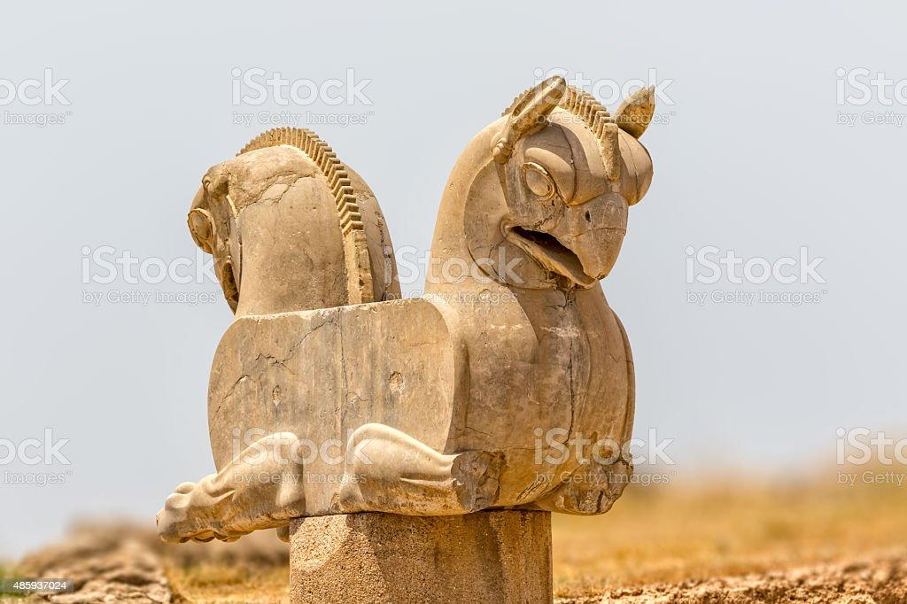 Homa Bird in Persepolis stock photo