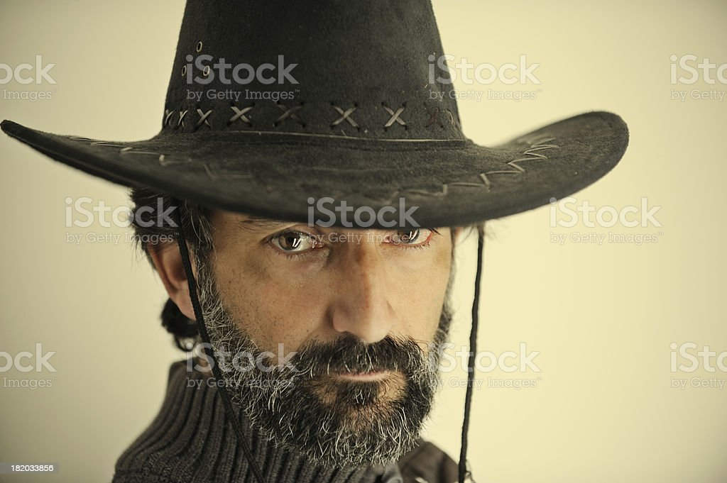 Hombre in cowboy hat stock photo