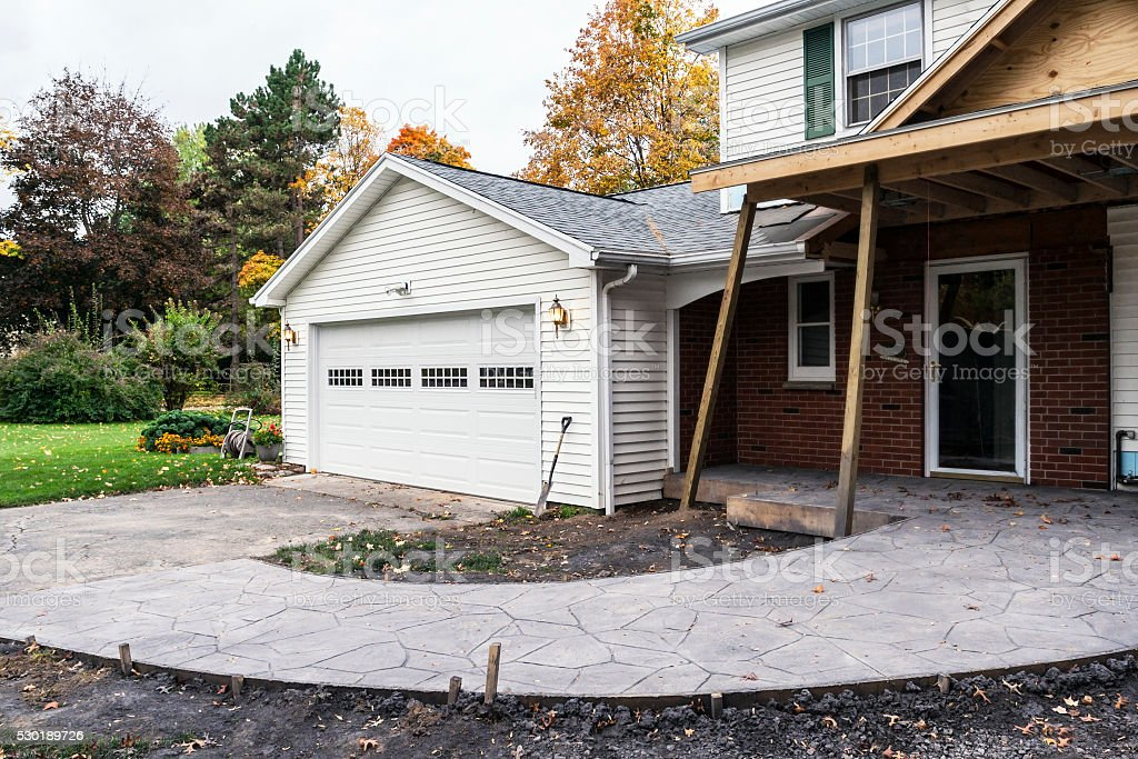 Home Addition Construction Site New Concrete Walkway Ramp stock photo