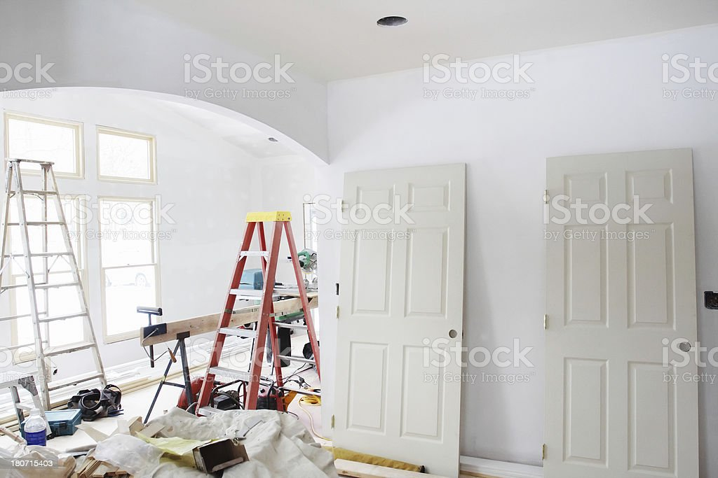 Home Addition Indoors Construction In Progress royalty-free stock photo