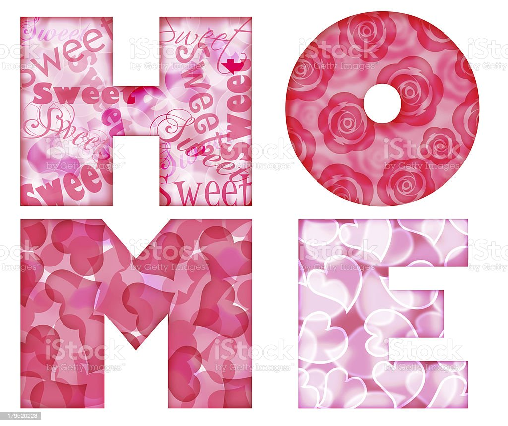 Home Alphabet Letters with Floral and Hearts stock photo