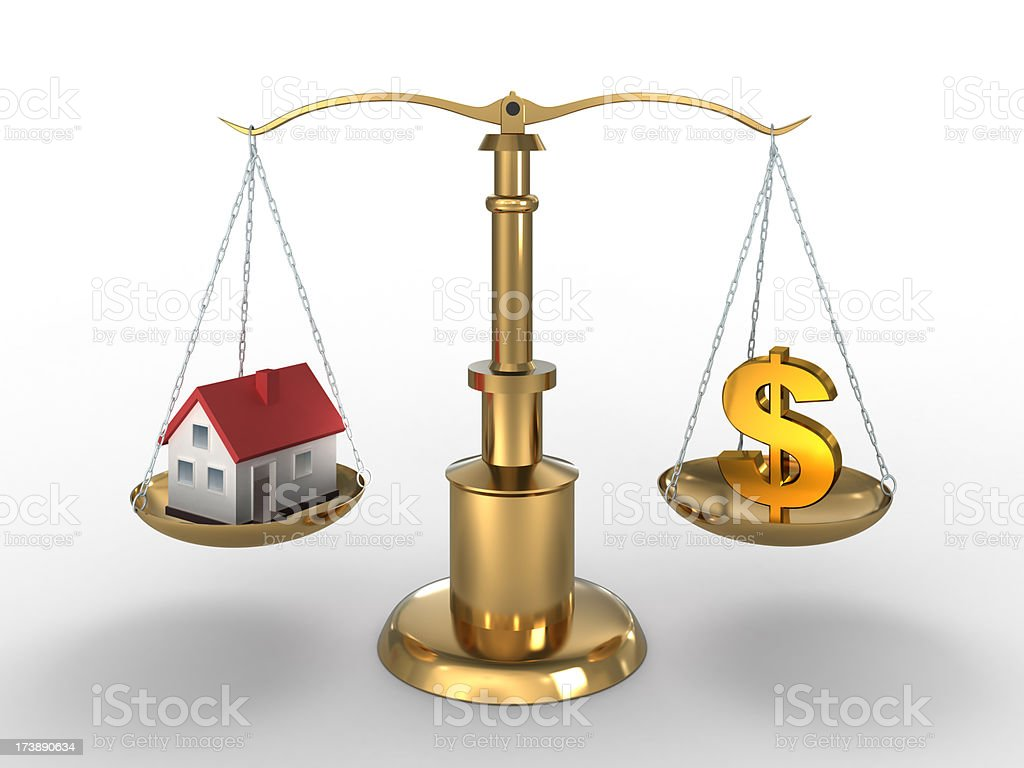 Home and Dollar on compared - clipping path included royalty-free stock photo