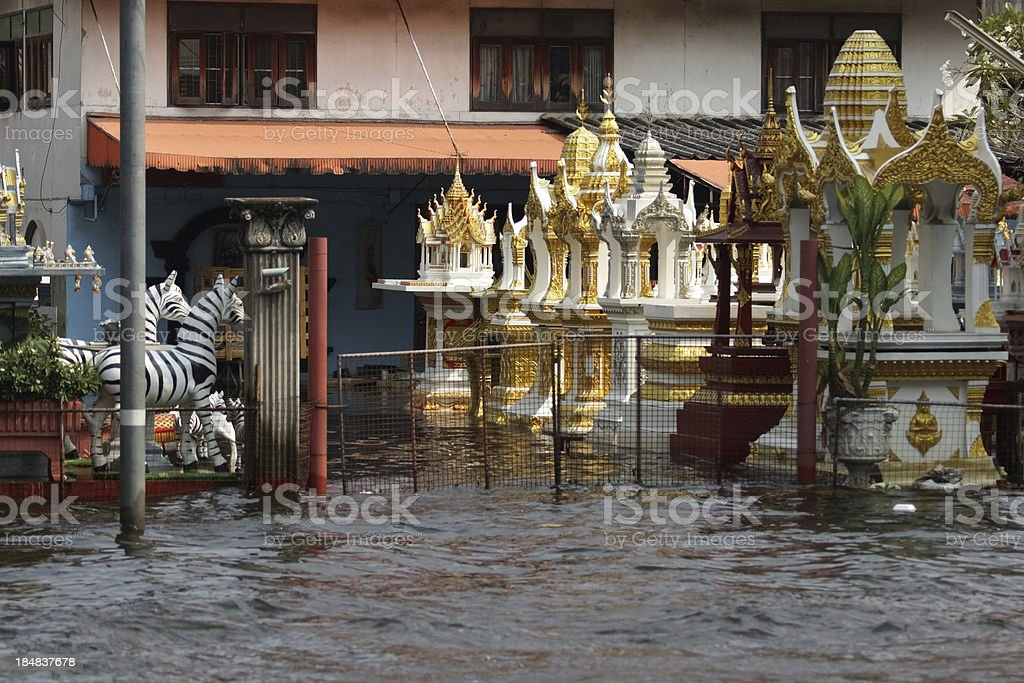 Home and Joss House flood in Bangkok, Thailand stock photo